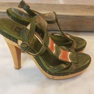 FRYE Wooden Heel Platform Sandals